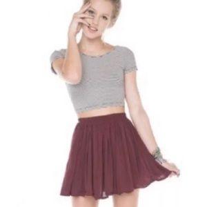 Brandy Melville Luna maroon one size skirt
